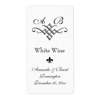 (Het witte) Etiket van de Wijn van het Huwelijk va