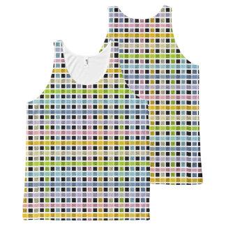 Het witte Geschetste Weefsel van de Regenboog van All-Over-Print Tank Top