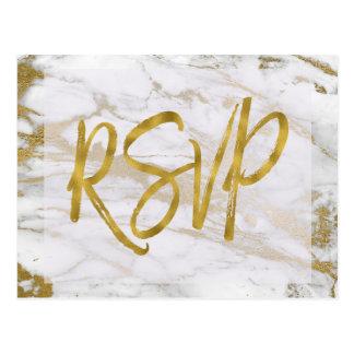 Het witte & Gouden Marmeren Antwoord van de Briefkaart