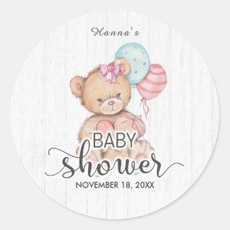 Het witte Houten Ballons & Baby shower van het Ronde Sticker