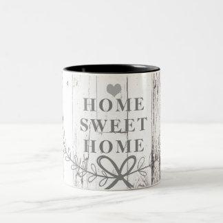 Het witte Houten Zoete Huis van het Rustieke Huis Tweekleurige Koffiemok