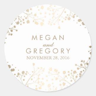 Het Witte Huwelijk van de Adem van de gouden Baby Ronde Sticker