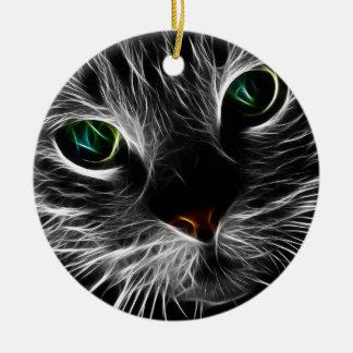 Het witte Kat ziet Abstract Fractal van | Kat Rond Keramisch Ornament