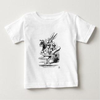 Het witte Konijn kleedde zich zoals aankondigen Baby T Shirts