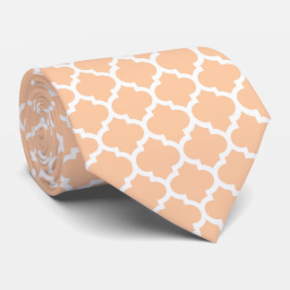 Het Witte Marokkaanse Quatrefoil Patroon van de Persoonlijke Stropdas