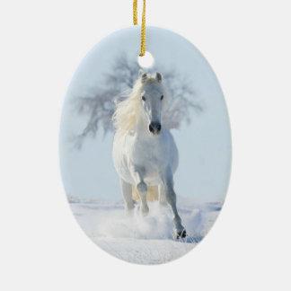 Het witte Ornament van de Vakantie van de Hengst