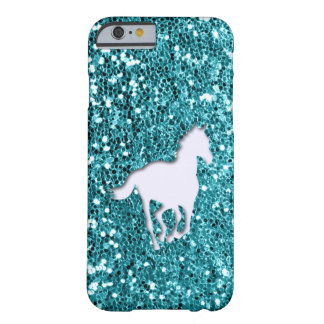 Het witte Paard op Aqua schittert Blik Barely There iPhone 6 Hoesje