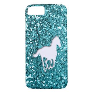 Het witte Paard op Aqua schittert Blik iPhone 8/7 Hoesje