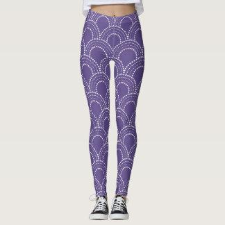 Het witte patroon van het art decostip op leggings