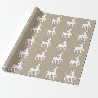 Het witte Patroon van het Silhouet van Herten op Cadeaupapier