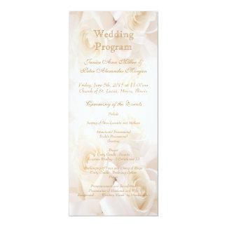 Het witte programma van het Huwelijk van roomrozen 10,2x23,5 Uitnodiging Kaart