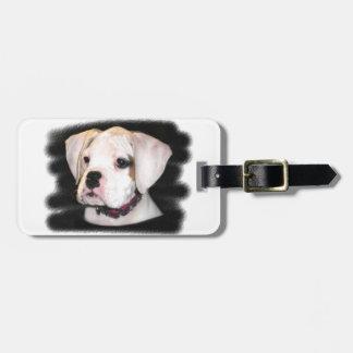 Het witte puppy van de Bokser Bagagelabel