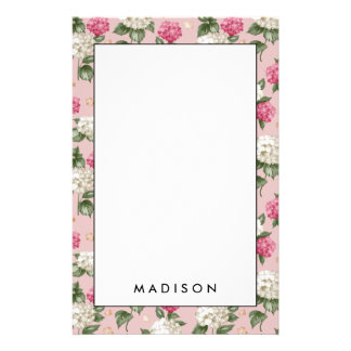 Het witte roze bloemen naadloze patroon van de briefpapier
