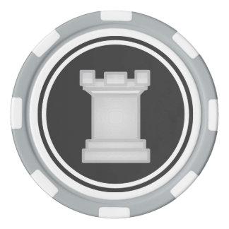 Het witte Schaakstuk van de Roek Pokerchips