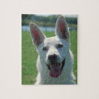 Het witte Tin van de Hond van de Duitse herder met Foto Puzzels