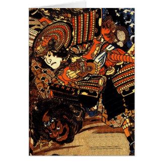 Het worstelen Kagehisa en Yoshitada van Kuniyoshi Briefkaarten 0