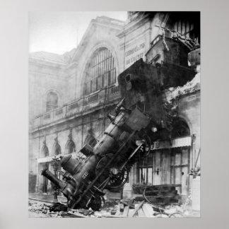 Het Wrak van de trein in Montparnasse Poster