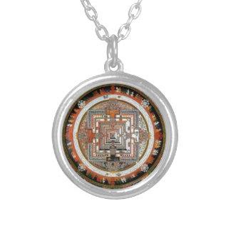 Het Zand Mandala van Kalachakra Zilver Vergulden Ketting