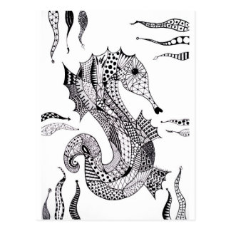 Het Zeepaardje van Zentangle Wens Kaart