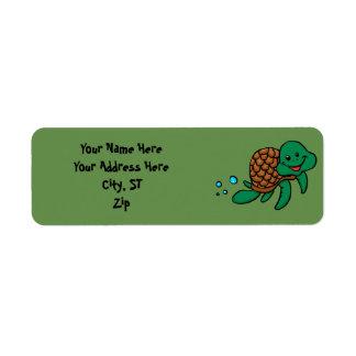 Het zeeschildpad van de cartoon etiket