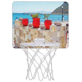 Het zeeuitzicht van de waterverf mini basketbalring