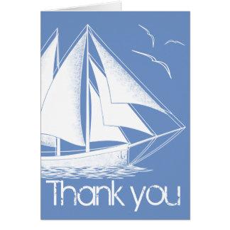 Het zeevaart blauw dankt u kaardt wenskaart