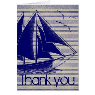 Het zeevaart blauw dankt u wenskaart