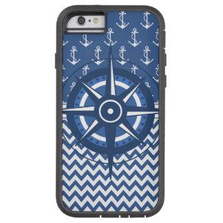 Het zeevaart Blauwe en Witte Patroon van het Anker Tough Xtreme iPhone 6 Hoesje