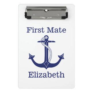 Het zeevaart Eerste Blauwe Gepersonaliseerde Anker Mini Klembord