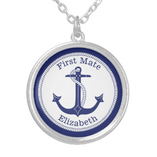 Het zeevaart Eerste Blauwe Gepersonaliseerde Anker Zilver Vergulden Ketting