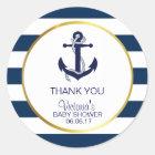 Het zeevaart Marineblauwe Gouden Baby shower van Ronde Sticker
