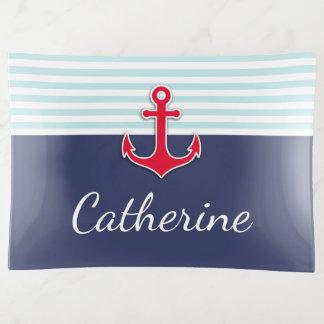 Het zeevaart Marineblauwe Rode Ontwerp van de Sierschaaltjes