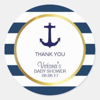 Het zeevaart Marineblauwe Witte Gouden Baby shower Ronde Sticker