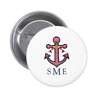 Het zeevaart Monogram van het Anker met Rode & Ronde Button 5,7 Cm