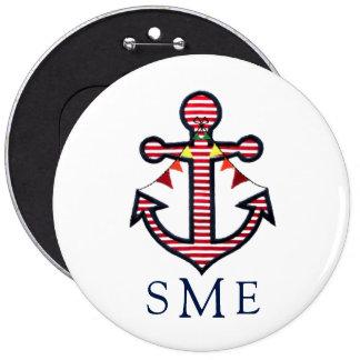 Het zeevaart Monogram van het Anker met Rode & Ronde Button 6,0 Cm