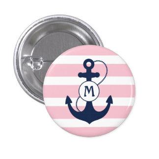 Het zeevaart Monogram van het Anker Ronde Button 3,2 Cm