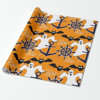 Het zeevaart patroon van Halloween Inpakpapier