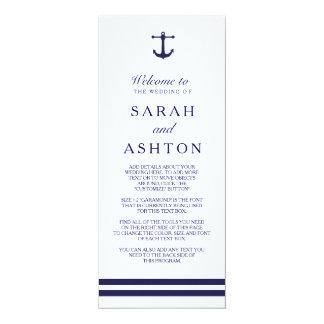 Het zeevaart Programma van het Huwelijk van de 10,2x23,5 Uitnodiging Kaart