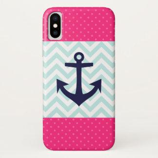 Het zeevaart Roze Witte Patroon van het Anker van iPhone X Hoesje