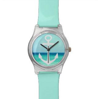 Het zeevaart Turkooise OceaanHorloge van het Anker Horloge
