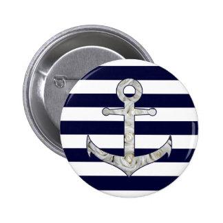 Het zeevaart wit nam anker toe ronde button 5,7 cm