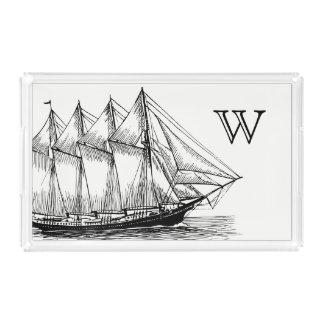 Het zeevaart Zwarte Vintage Schip van de Schoener Acryl Dienblad