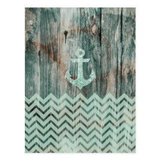 Het ZeevaartAnker van Bokeh van Aqua op Hout Briefkaart