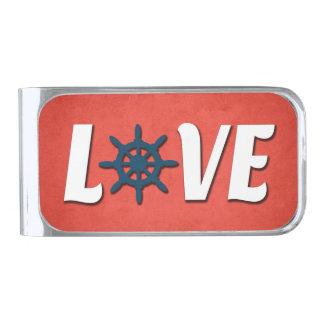 Het zeevaartontwerp van de liefde verzilverde geldclip