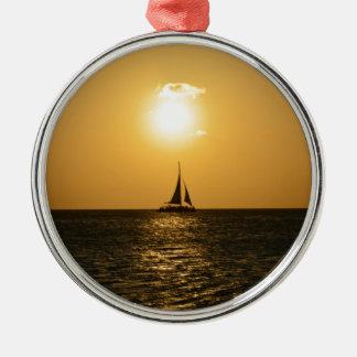 Het Zeil van de zonsondergang Zilverkleurig Rond Ornament