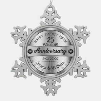 Het zilver & de Tekst ontwerpen het 25ste Jubileum Tin Sneeuwvlok Ornament
