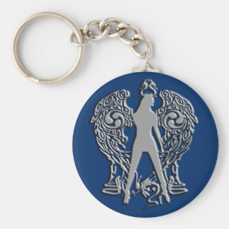 Het zilver maakt de Engel Keychain van het Serpent Basic Ronde Button Sleutelhanger
