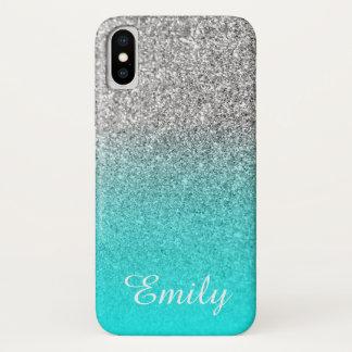 Het zilver schittert Aqua Gepersonaliseerde Ombre iPhone X Hoesje