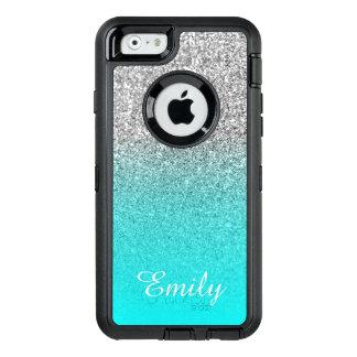 Het zilver schittert Aqua Gepersonaliseerde Ombre OtterBox Defender iPhone Hoesje