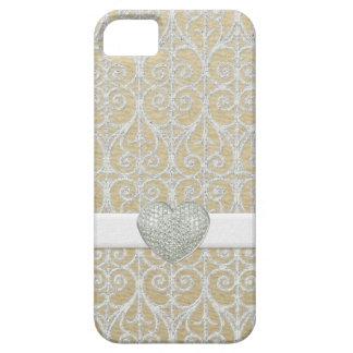 Het Zilver van Champagne, Diamant Faux bedekt het Barely There iPhone 5 Hoesje